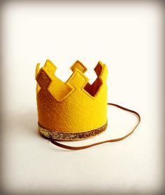 Gold Crown Felt Crown Headband Gold Glitter by littleblueolive, $18.00