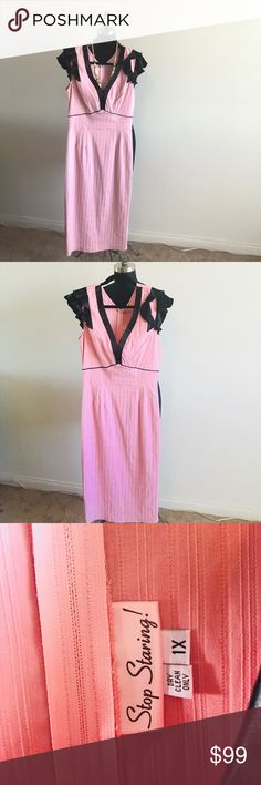 """Soul Sunday retro 1950's """"StopStaring"""" Dress.... This Plush Pink  Bubblegum  1950's wiggle dress  size 1X. Fit  to be tailored or true to size , one of a kind Vintage brand """"Stop Staring!"""" Boutique based in L.A   Satin like trim and ruffle sleeves invisible zipper in the back -Dry clean only material seems like  a poly-blend w/ stretch ! What a great find !!!   For the retro inspired mind• Stop Staring Dresses Midi"""
