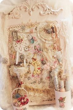 Shabby Sewing bits and pieces a collage of prettiness