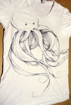 T-shirt with a hand-drawn octopus on it. Pentel makes amazing permanent ballpoint fabric pens; it's almost like drawing with a real pen (although getting the t-shirt not to wrinkle when you're drawing is the real challenge).