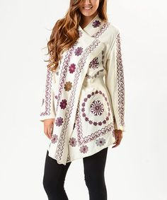 PAPARAZZI Cream Floral Open Cardigan | zulily
