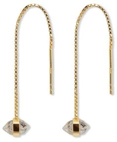 MANIAMANIA Gold Chain Herkimer Earrings