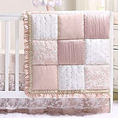 Perfect for your Baby and Nursery Grace 4 Piece Baby Girl Dusty Pink Floral Layered Patchwork Crib Bedding Set,Grace 4 Piece Baby Girl Dusty Pink Floral Layered Patchwork Crib Bedding Set, Stunning feminine fabrics, soft colors and textural elements highlight this premium quality pink and white floral collection of essentials for your baby girl's crib and nursery; 4 piece set includes an...