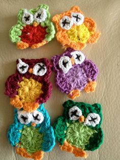 owl Crochet handmade applique for scrap book hair by SaraMolano, $2.50 each
