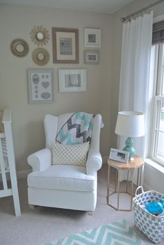 Wingback Rocker in this Gender Neutral Nursery - cozy corner for rocking/nursing that we just love!