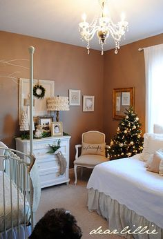 I love this calm and peaceful nursery with really sentimental touches. Would probably change the wall color but everything else is perfection!