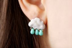 Summer Rain Cloud Stud Earrings. super cute!!