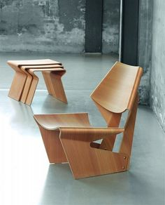 Molded plywood chair and matching nesting tables by Grete Jalk, re-introduced by Lange Production, Copenhagen interior-furniture Plywood Chair, Plywood Furniture, Danish Furniture, Danish Chair, Design Furniture, Chair Design, Unique Furniture, Luxury Furniture, Outdoor Furniture