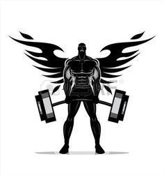 Full body Silhouette of Bodybuilder fitness. Bodybuilding Logo, Bodybuilding Workouts, Bodybuilding Pictures, Body Builder, Academia Fitness, Big Biceps, Gym Logo, Ab Workout Men, Gym Design