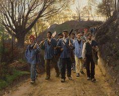 P.S. Krøyer Franske Skovarbejdere gående hjem fra arbejde. 1879.