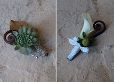 Love these boutineres! If we could add a peacock feather, Brendan could take the calla lily, and the boys could take the succulents. Succulent Boutonniere, Boutonnieres, Wedding Bouquets, Wedding Flowers, Wedding Stuff, Wedding Ideas, Fern Plant, Peacock Wedding, Calla Lily