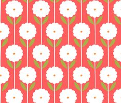 Stella - Coral Red fabric by elephantandrose on Spoonflower - custom fabric