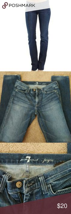 """Re- posh 7 for all mankind Joyce These are straight leg Joyce denim.  Size 27 inseam 31"""".  They just don't fit me.  Great condition.  Message me with any questions. 7 For All Mankind Jeans Straight Leg"""