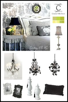 COUNTRY VILLA DECOR: French Country Decor ..... Black and White Decor Ideas, Black and White Stripe, Black Chandeliers and decor accents available at www.country-villa-decor.com
