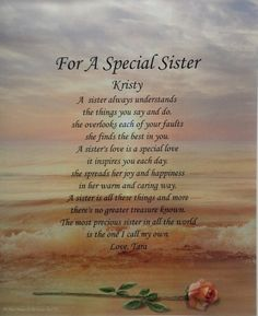 Special Gift For Sister On Her Wedding Day : Personalized Poem for Sister A Special Gift for Birthday or Christmas ...