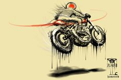 Illustration cafe racer by Hamerred #motorcycles #caferacer #motos | caferacerpasion.com