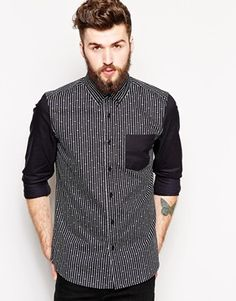ASOS Shirt In Long Sleeve With Polka Dot And Star Stripe