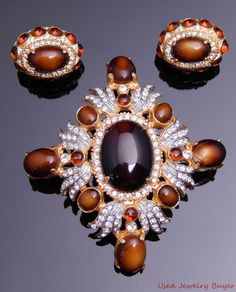 Vintage Signed KJL Pin Brooch & Earring Set Brown Amber & White Rhinestones #KJL