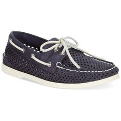 Sperry Men's A/O 2-Eye Laser Perforated Boat Shoes ($99) ❤ liked on Polyvore featuring men's fashion, men's shoes, men's loafers, navy, sperry mens shoes, mens deck shoes, mens sperry topsiders, mens topsiders and sperry top sider mens shoes