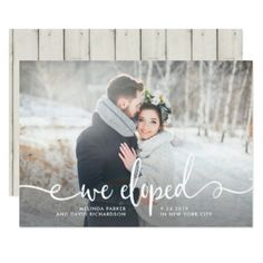 #We Eloped | Modern Rustic Photo Card - #just #married #invitations #wedding