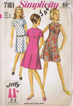 VINTAGE SEWING PATTERN SHEATH DRESS SIMPLICITY 7161 SIZE 14 BUST 34 HIP 36 UNCUT