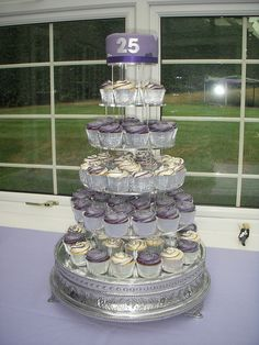 Silver wedding anniversary cupcake tower - May 2011 by LouLou's Cakes, via Flickr
