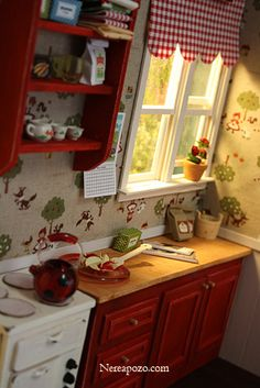 MINIATURE red kitchen!  cheery 1:12th scale miniature kitchen