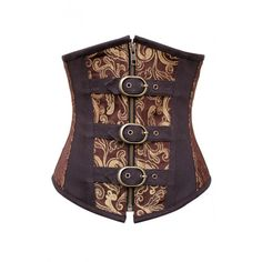 CD-604 - Gold and Brown Brocade Underbust With Buckles and Zip *PROMOTION*