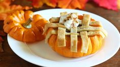 Pumpkin pie baked in a mini pumpkin with a lattice top is a cute and fun way to serve this classic fall dessert.