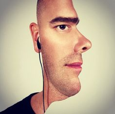 Photographer splices together side and front profile shots to create an optical illusion.