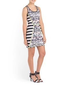 Juniors Contrast Print Skater Dress