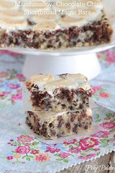 Marshmallow Chocolate Chip Shorbread Magic Bars, ooey gooey delicious!