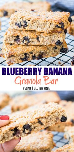 Recipes Snacks Bars Healthy Blueberry Banana Granola bar is our new obsession at home. These soft and chewy homemade granola bars are gluten-free, vegan and refined sugar-free. Vegan Granola Bars, Oatmeal Bars Healthy, Banana Granola, No Bake Granola Bars, Healthy Homemade Granola Bars, Snacks Homemade, Healthy Bars, Homemade Oatmeal Bars, Banana Bars