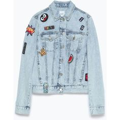 Zara Denim Jacket With Patches ( 30) ❤ liked on Polyvore featuring  outerwear 19dc1893f889f