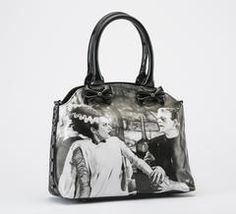 """Boris Karloff as Frankenstein's Monster in the 1931 Classic Horror Movieofficially licensed for Rock Rebel bowler handbag features Boris as the Monster in a vintage photo and punk rock style bold text! Made of vegan black vinyl, this bag contains an inner zip pocket and cell phone holder, full zip closure, and handles with fully detailed Frankenstein graphic. Black Satin Interior, 12"""" x 9"""" x 4.5""""."""