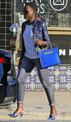 Looking effortlessly stylish and gorgeous 31-year-old Academy Award winning actress @Lupita_Nyongo was a bluey hue-y heaven visual delight... http://www.divascribe.com/app/webroot/blog/?p=1890