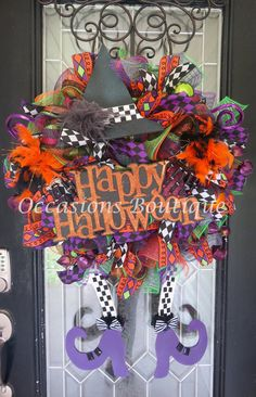 XL Halloween Witch Wreath, Halloween Decoration, Front door wreath, Wreath for door, Deco Mesh Wreath, Wicked Witch by OccasionsBoutique on Etsy
