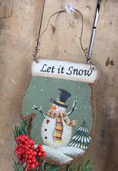 """""""Let it Snow"""" Snowman Rusty Tin Mitten Ornament - Christmas Ornaments - Christmas and Winter - Holiday Crafts Snowman Crafts, Snowman Ornaments, Snowmen, Rustic Christmas, Christmas Tree, Christmas Ornaments, Let It Snow, Let It Be, Holiday Crafts"""