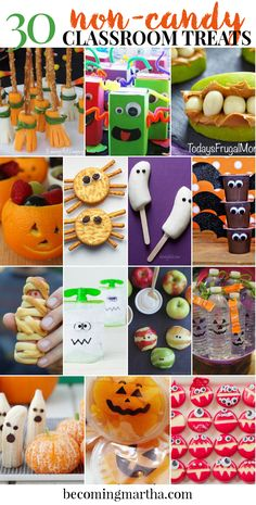 Looking for a non candy halloween treat for your child's classroom this year?  Look no further - this post has 30 great ideas for candy free treats - food and non food included!