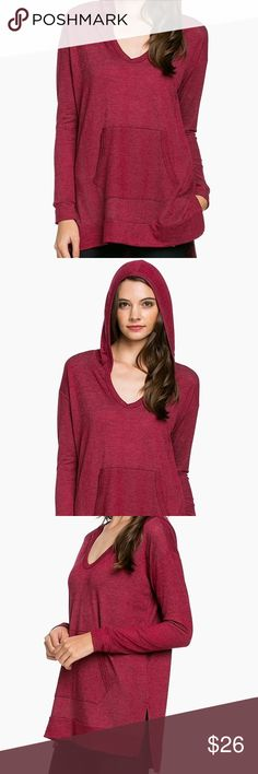 Hooded Long Sleeved front pocket Tunic New. Red Hooded French terry long sleeves with front pockets.   * Sizes Available: S, M, L * Color: Red * Material: 60% Rayon, 36% Polyester, 4% Spandex * Fabric: Jersey  * Bit of a split on the side * The back is a bit longer than the front  * Soft and comfy! Drapes very well with good stretch * Made in the USA BubBubs Boutique Tops Sweatshirts & Hoodies
