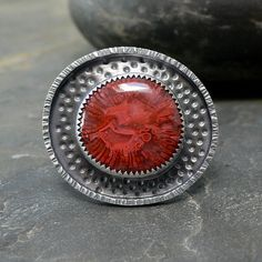 Sterling Silver Ring with Red Horn Coral Fossil Cabochon Jewelry Art, Jewelry Rings, Jewelery, Silver Jewelry, Jewelry Ideas, Horn Coral, Thing 1, Coral Ring, Big Rings