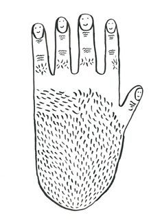 Drawing of a smiling hand.