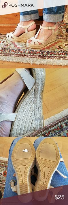 Kanna nude leather sandal Made in Spain, new w/o tag. Glue mark on inside of both shoes. Woven wedge heel, canvas and leather under your foot. Very cute! Dress up or down. Slight dirt on bottom from try on's. kanna Shoes Sandals