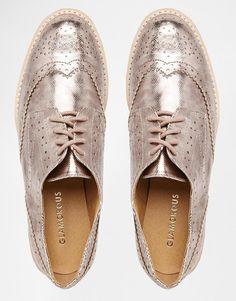 Image 3 ofGlamorous Rose Gold Brogue Flat Chunky Sole Flat Shoes