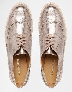 Glamorous rose gold brogue flat chunky sole flat shoes