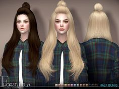 Sims 4 CC's - The Best: Hair Half Bun n27B by S-Club