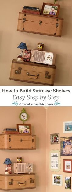 Love this! Suitcase shelves. Neutral wall color. Warm woods. Maries ...