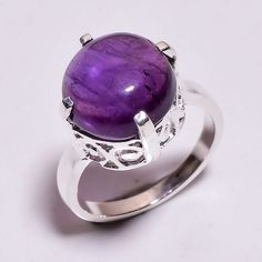 925 Sterling Silver Ring Size US 7.25, Amethyst Handcrafted Women Jewelry CR3741 #Handmade #Fashion #Christmas