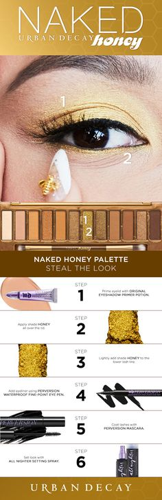 She's got that NAKED Honey look 🍯💛Create this blow out Honey look using the shade Honey. This intense gold metallic is the cure to all your fall makeup looks! Make Up Looks, Scary Makeup, Eye Makeup, Beauty Makeup, Maquillage Urban Decay, Pale Skin Makeup, Makeup You Need, Naked Palette, Colorful Makeup