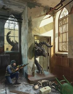 It reminds me of the church with the deathclaw in fallout 4